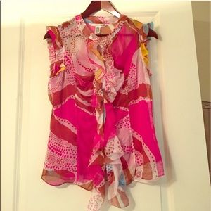 DVF ruffle pink blouse